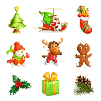 Set di icone di decorazioni natalizie