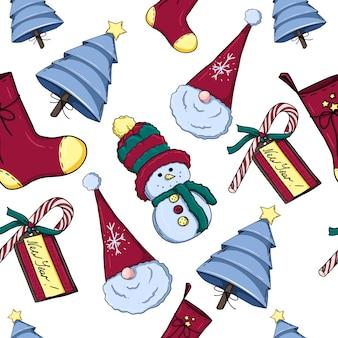 Modello di decorazione natalizia con alberi di natale pupazzo di neve e calza natalizia