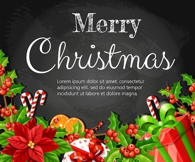 Natale decorazione rosso poinsettia vischio con foglie verdi pan di zenzero fetta d'arancia bastone di canna e scatola rossa con fiocco rosso illustrazione su sfondo nero con posto per il vostro testo