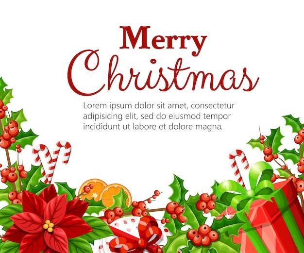Natale decorazione rosso poinsettia vischio con foglie verdi pan di zenzero fetta d'arancia bastone di canna e scatola rossa con fiocco rosso illustrazione su sfondo bianco con posto per il vostro testo