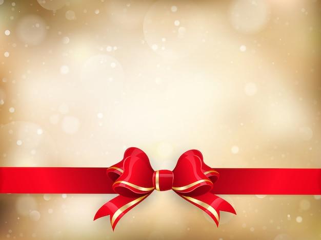 Decorazione natalizia - fiocco in nastro rosso con bokeh. Vettore Premium