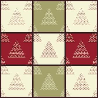 Modelli di set di decorazioni natalizie senza cuciture con sfondo retrò di alberi di natale stilizzati