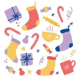 Calzino per decorazioni natalizie con caramelle e dolci. illustrazione di stile disegnato a mano. vacanze invernali, natale, capodanno concetto.