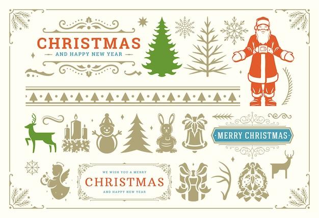 Simboli di decorazione natalizia con turbinii decorati e icone per etichette, banner e biglietti di auguri, elementi impostati con ornamenti.