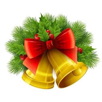 Decorazione natalizia con alberi sempreverdi, agrifoglio e campane. illustrazione vettoriale eps 10