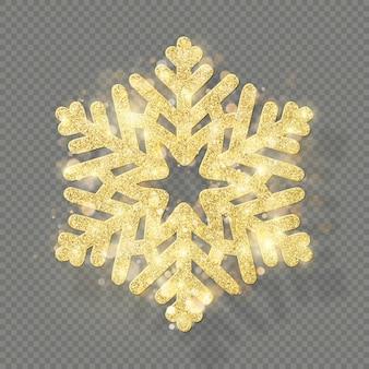 Decorazioni natalizie con glitter glitter oro. lustro fiocco di neve isolato