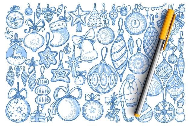 Insieme di doodle di decorazioni natalizie.