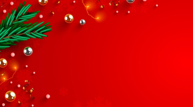 Disposizione delle decorazioni di natale con il concetto di vacanze di capodanno di inverno della cornice naturale di rami di abete come ...