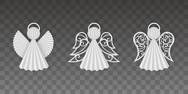 Decorazioni natalizie. set di angeli di carta.