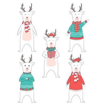 Carattere di cervo di natale con vestiti o stili diversi