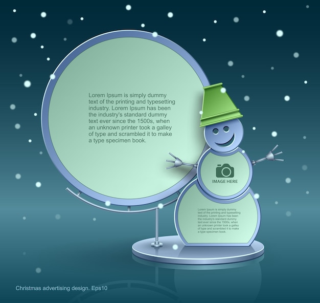 Design natalizio, pupazzo di neve