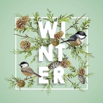 Design natalizio uccelli invernali con pini
