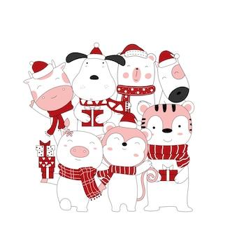 Disegno di natale con il simpatico cartone animato animale e la confezione regalo stile cartone animato disegnato a mano