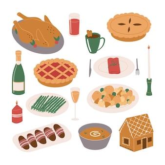 Set cibo e bevande per la cena di natale