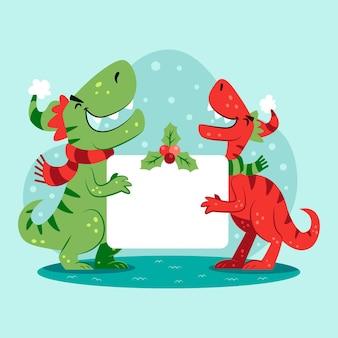 Dinosauri di natale che tiene bandiera in bianco Vettore Premium