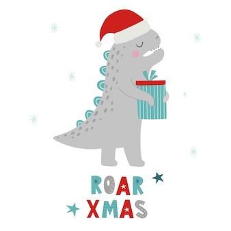 Dinosauri di natale roar xmas dino xmas illustrazione vettoriale di un personaggio divertente in stile cartone animato