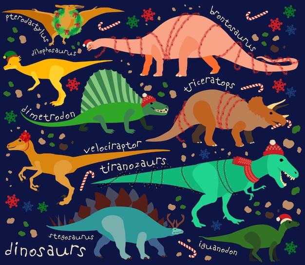 Sfondo di dinosauri di natale. illustrazione vettoriale per bambini.
