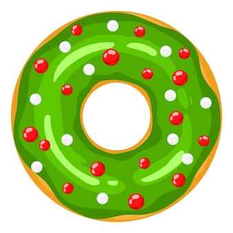 Ciambella di natale la ciambella verde è decorata con dolci palloncini festivi caramelle dolci