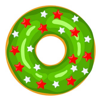 Ciambella di natale la ciambella verde è decorata con dolci stelle festive e palloncini caramelle dolci