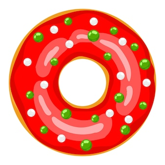 Ciambella di natale la ciambella rossa è decorata con dolci palloncini festivi cartoni dolci natalizi