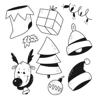Insieme di elementi di doodle di natale isolato su uno sfondo bianco