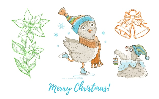 Natale doodle gufo uccello, talpa, campana jingle, insieme della stella di natale accumulazione disegnata a mano dell'acquerello sveglio. elemento di design biglietto di auguri poster.