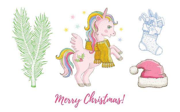 Natale doodle unicorno pony animale, cappello da babbo natale, calza, set di abete. accumulazione disegnata a mano dell'acquerello sveglio.