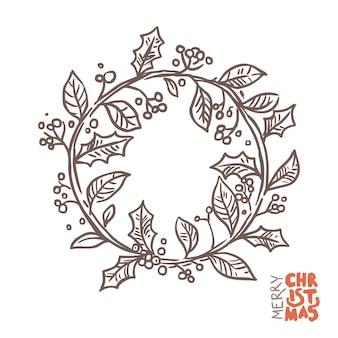 Corona di doodle di natale. illustrazione disegnata a mano di schizzo