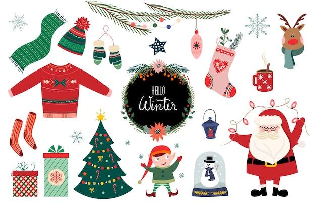 Collezione di elementi natalizi, design stagionale invernale
