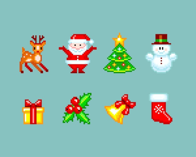 Elementi natalizi in stile pixel-art. illustrazione isolato su sfondo blu chiaro