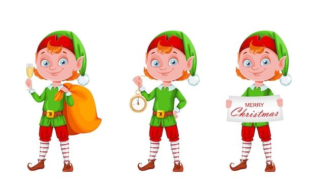 Set di caratteri del fumetto dell'elfo di natale di tre pose