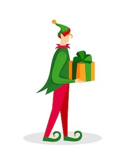 Personaggio degli elfi di natale. ragazzo in costume verde.