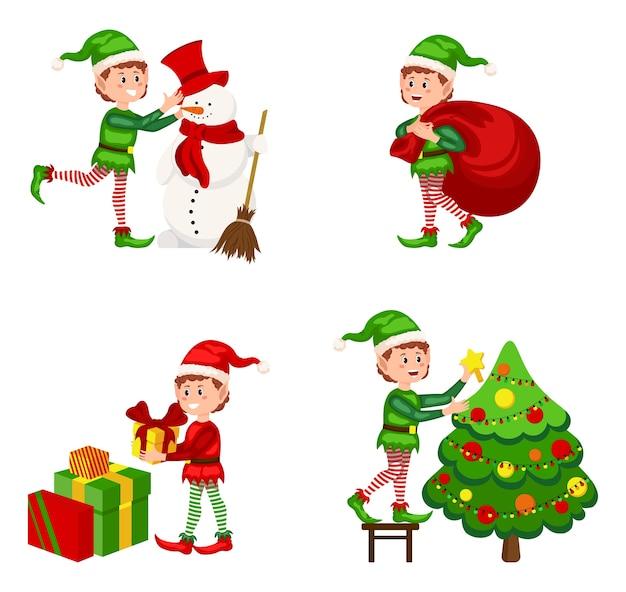 Elfo di natale in diverse posizioni. cartone animato di aiutanti di babbo natale, simpatici elfi nani personaggi divertenti, aiutante di babbo natale, piccolo assistente di fantasia verde di natale. inverno 2021