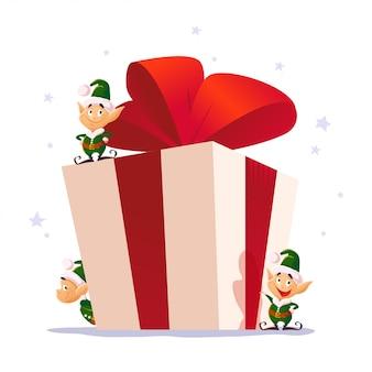 Set ritratto di elfo di natale. carattere di babbo natale. illustrazione di stile del fumetto. felice anno nuovo, elemento di buon natale. buono per la carta di congratulazioni, flayer, poster.