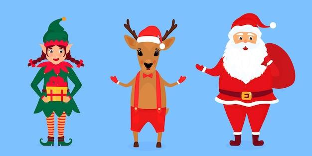 Elfo di natale, babbo natale e illustrazione vettoriale dei cervi.