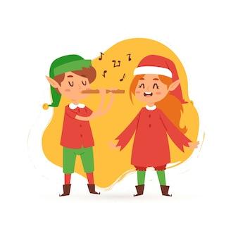 Bambini degli elfi di natale che cantano l'illustrazione caroling del fumetto.
