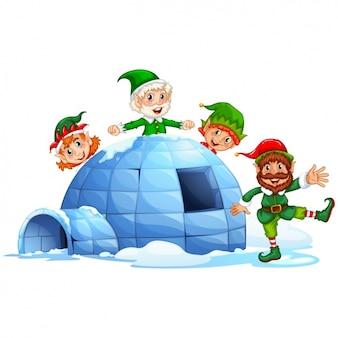 Elfi di natale con un igloo