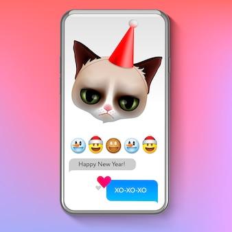 Natale emoji gatto scontroso con il cappello di babbo natale, emoticon viso sorriso vacanza
