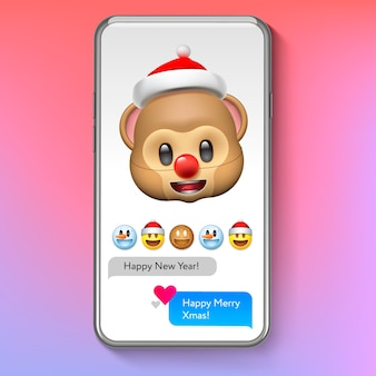Scimmia di emoji di natale nel cappello di babbo natale, emoticon di faccia di sorriso di vacanza