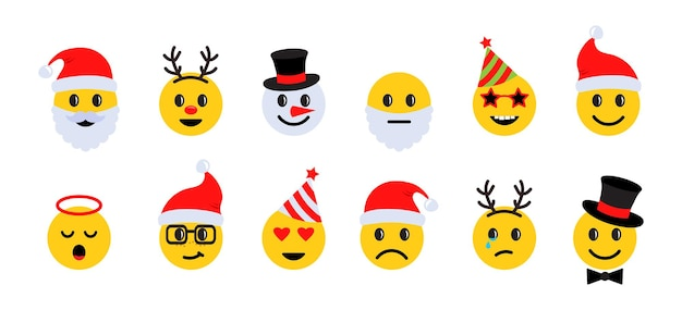 Emoticon di natale, icone del viso sorriso vacanza con diverse emozioni. illustrazione vettoriale