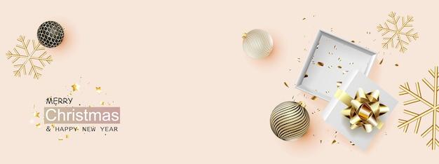 Modello di scatola regalo aperto vuoto di natale. oggetti decorativi realistici di natale.