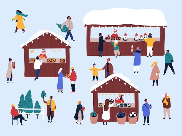 Fiera di natale, illustrazione piatta del mercato di strada.