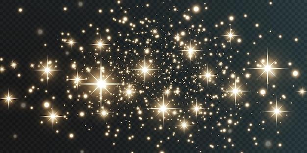 Natale che cade luci dorate magica polvere d'oro astratta e abbagliamento sfondo natalizio festivo.
