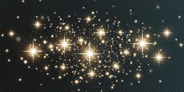 Natale che cade luci dorate magica polvere d'oro astratta e bagliore sfondo natalizio festivo