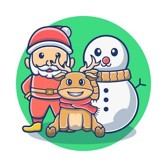 Natale famiglia babbo natale e pupazzo di neve