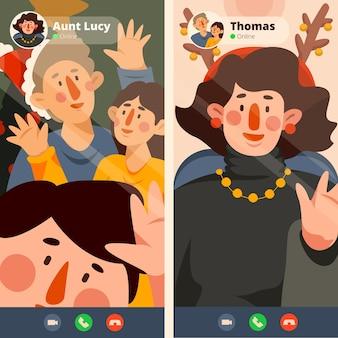Illustrazione della videochiamata della famiglia di natale