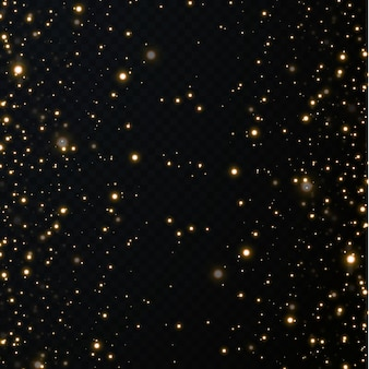 Sfondo festivo di natale di coriandoli leggeri. piccole luci scintillanti d'oro. texture oro scintillante.