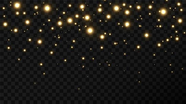 Sfondo festivo natalizio di coriandoli leggeri e piccole luci dorate brillanti