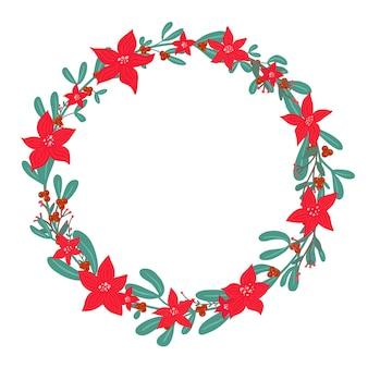 Ghirlanda di vischio festivo natalizio con bacche di agrifoglio e stella di natale stella di natale fiore invernale