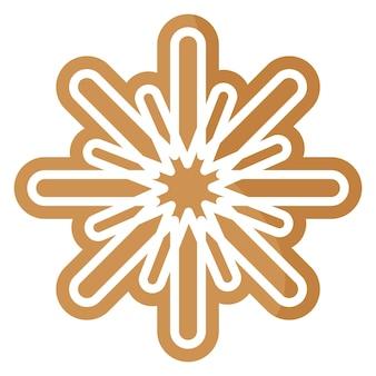 Pan di zenzero festivo del fiocco di neve di natale coperto da glassa bianca.